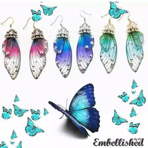 💍 Butterfly / Fairy Wings Colorful Earrings